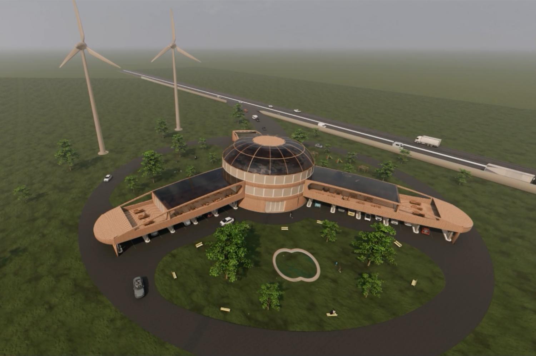 Konzeptfoto für einen ökologischen E-Auto-Ladepark
